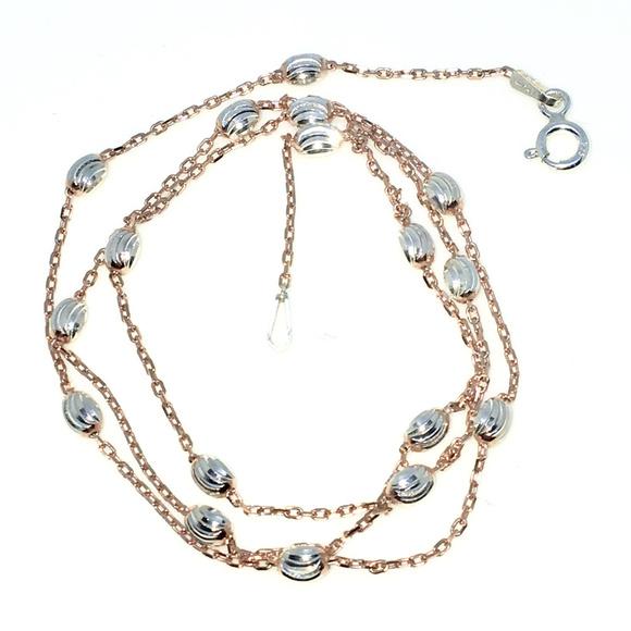 ec3f223d16297 Rose Gold Diamond Cut beads & cable Chain Necklace Boutique